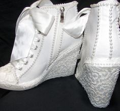 Wedding Sneakers for Brides – From Flats to Heels Wedding shoes for brides Wedding Tennis Shoes, Wedge Tennis Shoes, Wedding Sneakers, Wedge Wedding Shoes, Wedding Converse, Nike Outfits, Cute Shoes, Me Too Shoes, Outfits