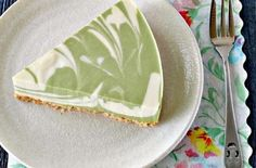 #EasyRecipe: No-Bake Green Tea Cheesecake | This easy cheesecake recipe is flavored with green tea powder and vanilla, and its creamy texture is due to a mixture of silky tofu, cream cheese, yogurt (or sour cream) and milk.