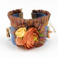Boho Colorful Flowers Wide Bracelet //Price: $15.00 & FREE Shipping //     #bohemian