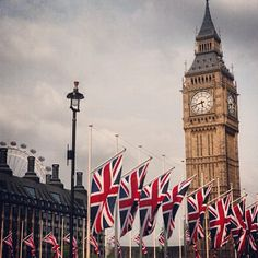 Jubilee flags and Big Ben - London bedecked and ready to party!