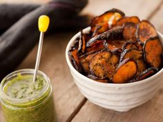Looking for New Year's Eve party snacks? Eggplant chips and creamy pesto are a healthy but tasty treat. Get the recipe here: http://www.hgtv.com/entertaining/eggplant-chips-with-cilantro-pesto/index.html=pinfave