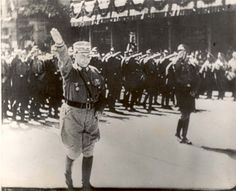 Munich, Germany, Goering at the head of an SA parade. These men were sadistic and so very violent to Jews. From killing, to torture and rape.