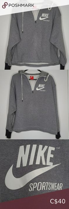 NIKE Sportswear quarterzip hoodie NIKE Sportswear logo hoodie. Retro style. Nike logo on front and back in great condition - no cracking on the logo. Worn a couple times, slight makeup stain around inside collar (shown in 4th photo) but is not noticeable when zipped, can be easily washed out. ***DIsclaimer: All items are from a pet free & smoke free home. All items are accurately described and showcased in accurate conditioned. I will not accept returns if you do not like the item/it does… Nike Running Jacket, Running Shirts, Nike Pullover, Half Zip Pullover, Fleece Hoodie, Hoodie Jacket, Retro Fashion, Plus Fashion, Grey Zip Ups