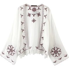 Relaxfeel Women's Bat Sleeve Embroidery Kimonos-White (195 ARS) ❤ liked on Polyvore featuring white