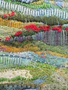 Jane Lafazio Dreaming Tuscany in May (detail) Modern Embroidery, Embroidery Art, Embroidery Stitches, Embroidery Patterns, Textile Fiber Art, Textile Artists, Textiles, Landscape Quilts, Thread Painting