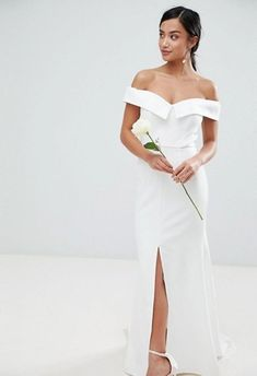 Buy Jarlo Petite Bardot Maxi Dress With Thigh Split And Train Detail at ASOS. With free delivery and return options (Ts&Cs apply), online shopping has never been so easy. Get the latest trends with ASOS now. Asos Wedding Dress, Cheap Wedding Dress, Strapless Dress Formal, One Shoulder Wedding Dress, Formal Dresses, What Is Wedding, Wedding Lounge, Affordable Wedding Dresses, Asos Dress