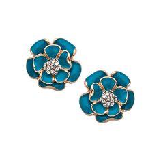 Teal Enamel Flower Earrings ($18) ❤ liked on Polyvore featuring jewelry, earrings, fashion jewelryearrings, floral jewelry, teal blue earrings, teal stud earrings, teal jewelry and enamel earrings