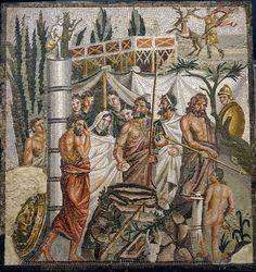 L'ESCALA - EMPURIES / COSTA BRAVA Emblem in polychrome mosaic. 1st. C.B.C. Empúries