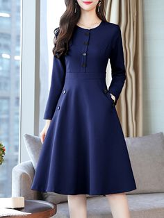 Round Neck Decorative Buttons Patch Pocket Plain Skater Dress - Decoration For Home Modest Dresses, Modest Outfits, Classy Outfits, Modest Fashion, Women's Fashion Dresses, Elegant Dresses, Skirt Fashion, Hijab Fashion, Pretty Dresses