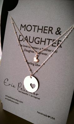 Mom Daughter Jewelry Set Mothers Day gifts for Mom Mother Daughter Necklace Set Mother of the Bride Gift Mother Daughter Jewelry, To My Daughter, Mother Daughters, Mother Jewelry, My Baby Girl, Baby Love, My Princess, Necklace Set, Mother Necklace