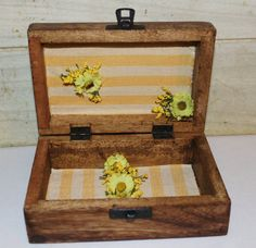 Rustic Chic Wedding Ring Box  Yellow  by ForeverDenimandLace, $30.00