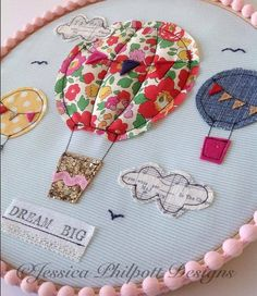 Hot air balloon embroidery hoop by JessPhilpottDesigns on Etsy