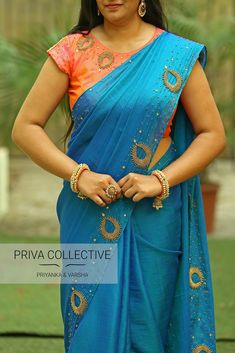 PV 3661 - Blue PinkPrice - Rs 6500Soft easy to drape Blue Jute silk with hand work beads work as in picture.Unstitched blouse piece - Pink Silk with matching beads work/hand work as in the pictureFor Order 07 April 2018