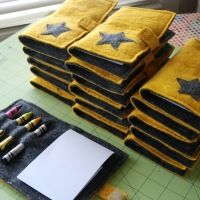 How-To: Felt Crayon Notebook Cover (would be cute to use the fleece like the tied blankets!)