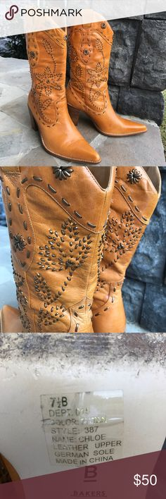 Bakers Western Boots Amazing boots with lots of detailed leather stitching. They are the most comfortable boots ever! True to size 7.5. Worn 3-4 times Bakers Shoes Heeled Boots
