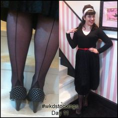12 Days of Stockings Giveaway! Day 11: Rachel wears Black Retro Seamed Stockings All you need to do to enter is retweet, share, regram or pin our daily stocking images using #wkdstockings Each day we're posting a stocking image and randomly selecting a person every day to win the stockings featured. At the end we'll be pulling one name out of a hat to win all 12 pairs! Winners announced on What Katie Did Blog.