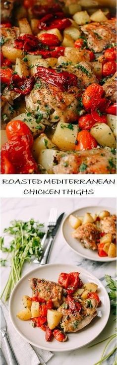 Mediterranean Diet Plan Roasted Mediterranean Chicken Thighs Recipe by the Woks of Life - Mediterranean chicken thighs roasted with potatoes in one pan with roasted red peppers, tomatoes, and capers makes an easy yet delicious and hearty meal. Mediterranean Chicken Thighs Recipe, Mediterranean Dishes, Easy Mediterranean Diet Recipes, Cooking Recipes, Healthy Recipes, Chicken Thigh Recipes, Woks, Greek Recipes, The Best