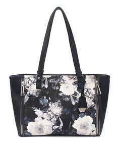 White   Black Garden Floral Corrine Zipper Tote d2370ed9e0499