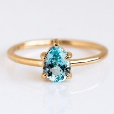 Eva Five Prong Pear Aquamarine Ring by Emi Conner Rose Gold Engagement Ring, Diamond Wedding Bands, Wedding Rings, Wedding Engagement, Wedding Stuff, Dream Wedding, Wedding Ideas, Thin Gold Rings, Silver Rings