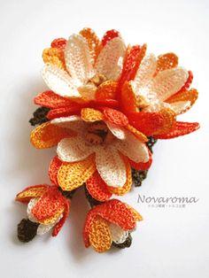 oya crochet brooch