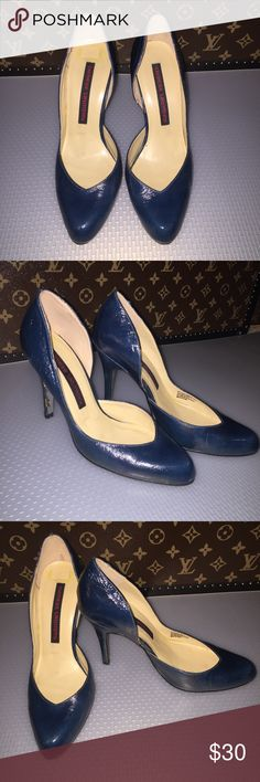CHINESE LAUNDRY patent leather heels Patent leather upper high heels. Dark teel color. Good worn condition. The only flaws are on the last picture. Bundle for discounts. ⭐️Pls view my Closet About section for reviews and comments.⭐️ Chinese Laundry Shoes Heels