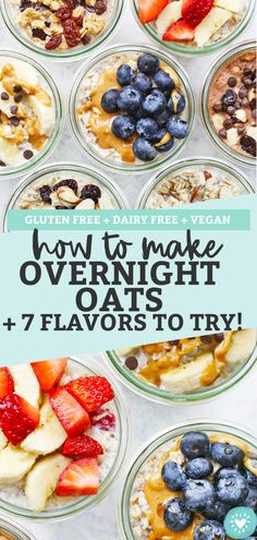 How to Make Overnight Oats + 7 Flavors of Overnight Oats to try! This easy meal prep breakfast is always a hit. Easy Holiday Recipes, Healthy Recipes On A Budget, Healthy Breakfast Recipes, Vegetarian Breakfast, Eat Healthy, Healthy Living, Vegan Meal Prep, Vegetarian Recipes Dinner, Oats Recipes
