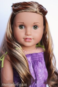 American Girl Doll Lea Clark Girl of the Year Hairstyle American Girl Doll Lea, American Doll House, American Girl Parties, American Girls, Girl Doll Clothes, Girl Dolls, Purple Beach Dresses, Lea Clark, Doll Hairstyles