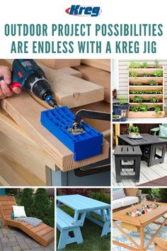 Now is the time to tackle your backyard projects, and the outdoor project possibilities are endless with a Kreg Jig. Learn how you can build all of these projects and (so many more!) to create the backyard of your dreams! Building Deck Railing, Deck Railings, Backyard Projects, Outdoor Projects, Wood Projects, Kreg Tools, Drill Guide, Kreg Jig, Big Project