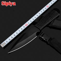 Stainless Steel Hunting Knife Survival Knives Fixed Blade Diving Outdoor Camping Knife Silver/Black with Nylon Sheath