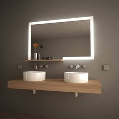 Lighting can provide contrast which is what this light up mirror does. It draws the eye towards it and gives us some light in the midst of all the dark. Baths Interior, Cafe Interior, Interior Styling, Modern Bathroom Design, Contemporary Bathrooms, Bathroom Interior Design, Modern Mirrors, Design Apartment, Apartment Interior