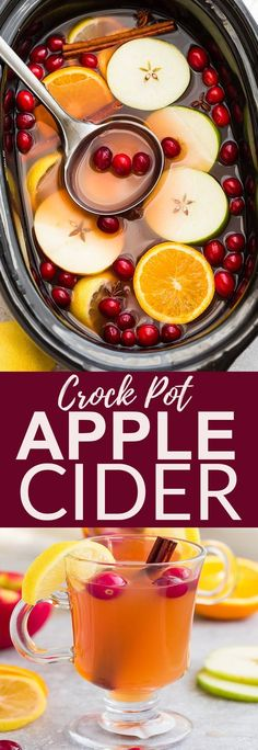 This Crock Pot Apple Cider Recipe is the perfect comforting drink for fall and the holiday Christmas season. Best of all, this homemade favorite is made entirely from scratch in the slow cooker with apples, orange, lemon, cranberries, cinnamon and cloves. An easy set and forget recipe that makes your house smell amazing! Grab a warm mug and and sit by a cozy fireplace all winter long.