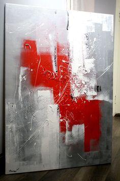"""Collection """"Ombre et Lumière"""" tableau contemporain Gris Argent Rouge Blanc"""