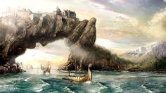 fantasy art vikings sailing boats ships landscapes paintings mountains wallpaper background