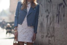 love the dress, for a lighter effect I would pair with a denim crop jacket