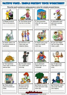 Passive Voice Simple Present Tense ESL Exercise Worksheet English Grammar Exercises, English Grammar Worksheets, Learn English Grammar, English Lessons, Hobbies For Kids, Hobbies To Try, Hobbies That Make Money, Active And Passive Voice, Active Voice