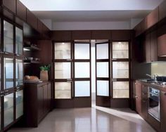 Inspirational Kitchen Cupboard Doors for You: Creative Contemporary Kitchen Cupboard Doors Design Used Transparance Decoration Made From Gla. Cupboard Door Design, Glass Kitchen Cabinet Doors, Glass Pantry Door, Kitchen Cupboards, Pantry Doors, Cabinet Design, Black Kitchens, Cool Kitchens, Beautiful Kitchens