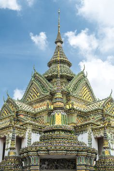 Low angle view of ornate temple spires, Bangkok, Thailand by Gable Denims on 500px - Grand Palace