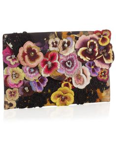 Embroidered pansy clutch