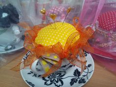 Yellow Black Pincushion in a Teacup Saucer, Shabby Chic Homeware Craft, Sewing. £8.00