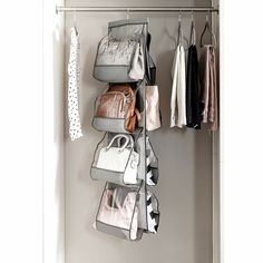 Beautiful Handbag Pocket Hanging Organizer by Rebrilliant storage-sale from top store Organizing Purses In Closet, Best Closet Organization, Hanging Closet Organizer, Handbag Organization, Purse Organizer Closet, Organization Ideas, Organize Purses, Storage Ideas, Organizing Bags
