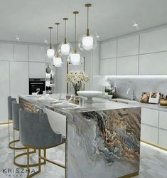 Luxury kitchen design - Home decor kitchen - Modern kitchen design - Kitchen interior - Interio - Expolore the best and the special ideas about Modern kitchen design Luxury Kitchen Design, Luxury Kitchens, Interior Design Kitchen, Home Kitchens, Dream Kitchens, Diy Interior, Luxury Interior Design, Interior Decorating, Interior Architecture
