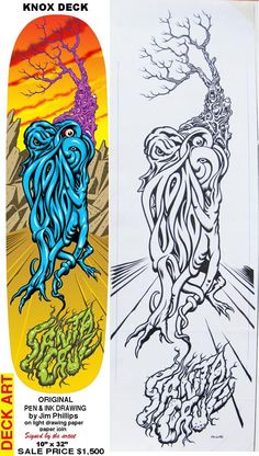 Jim Phillips Orginal Knos Deck Sketch $1500