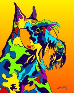 Multi-Color Scottish Terrier Dog Breed Matted Prints & Canvas Giclées