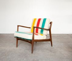 SIT AND READ BLANKET CHAIR NO.2  The second in a series that was featured in New York Magazine last week. This frame was designed by Poul Jensen and manufactured by Selig. The upholstery is a super soft vintage Witney Point blanket, made in England. $1,500.00