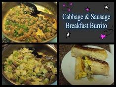 breakfast sausage bell pepper, diced onion, diced 1 small cabbage head, chopped tortillas scrambled eggs seasoning for egg. Breakfast Burrito Recipe Sausage, Make Ahead Breakfast Burritos, Vegetarian Breakfast, Breakfast Recipes, Small Cabbage, Cabbage Head, Cabbage And Sausage, Healthy Dishes, Morning Food