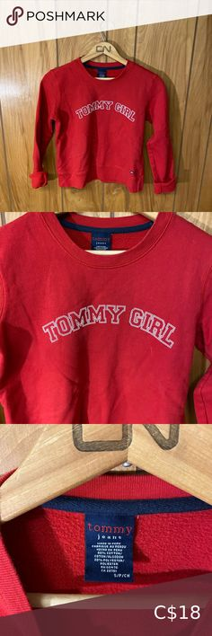 """90s Tommy Girl (Tommy Hilfiger) Sweater Such a cute sweater! Lightweight and great for autumn. The tag says S, but would fit more of a size XS. Size: XS Shoulder to shoulder: 15"""" Pit to pit: 17"""" Length: 19"""" Tommy Hilfiger Sweaters Crew & Scoop Necks Fall Sweaters, Cute Sweaters, Pullover Sweaters, Tommy Hilfiger Sweater, Tommy Hilfiger Shirts, Chunky Cable Knit Sweater, C 18, Long Sleeve Sweater, Autumn"""