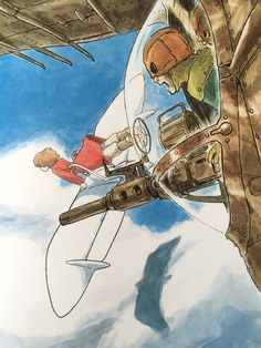 Nausicaa of the Valley of the Wind. Watercolour illustration by Hayao Miyazaki.