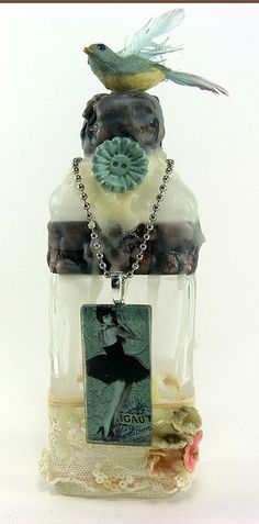 Paris Bird Bottle by Shabby Cottage Studio