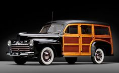 1946 Ford Super Deluxe Station Wagon- what do you think of the wood paneling? Love love the wood paneling!! It really make you double take the car!! And love the white walls!!