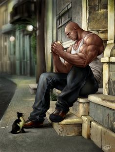 Big man and a cat. by ~aenaluck on deviantART